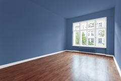 Empty room with blue painted walls royalty free stock photos & Empty Room With Blue Walls Paint Color Stock Image - Image of real ...