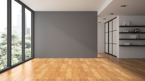 Empty room with book shelfs stock illustration