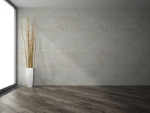 Empty room with branches decor 3D rendering Stock Photo