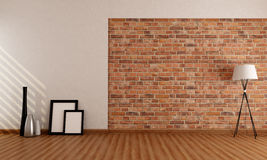 Empty room with brick wall vector illustration