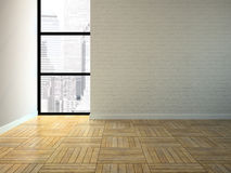 Empty room with brick wall royalty free illustration