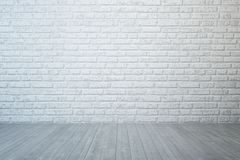 Empty room with brick wall and concrete floor stock images