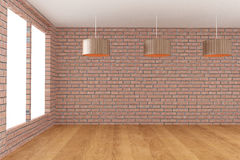 Empty room in brick wall with lamp in 3D rendering. Empty room in brick wall and wood floor with lamp in 3D rendering Royalty Free Stock Image