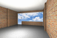 Empty room with brick wall, sky background Stock Images