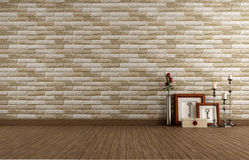 Empty vintage room with brick wall Royalty Free Stock Photography