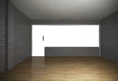 Empty room with brick wall and wood floor Royalty Free Stock Photography