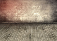 Empty room with brick wall and wooden boards. With smoke floating everyw Royalty Free Stock Image