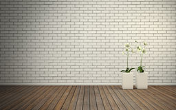 Empty room with brick wall and wooden floor Royalty Free Stock Photography