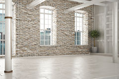 Empty room of business,or residence with brick interior. And a city background stock images