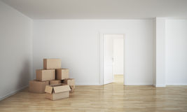 Empty room with cardboard boxes Royalty Free Stock Photography