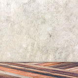 Empty room with cement wall and diagonal wooden floor,Template m Royalty Free Stock Image