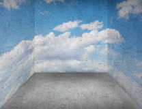 Empty room with cement wall and sky print. Stock Image