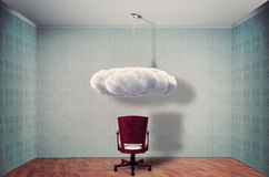Empty room. With chair and cloud royalty free stock photography