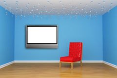 Empty room with chair and LCD tv Stock Photo