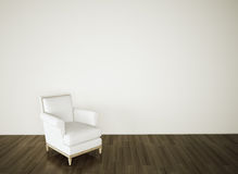 Empty room chair on white wall Stock Photos