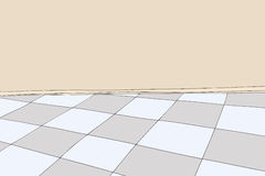 Empty Room with Checkered Floor Stock Images