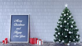 Empty room with Christmas decoration Royalty Free Stock Images