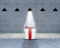 Empty room with Christmas gift stock illustration