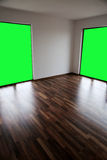 Empty room with chroma key wall. Empty house with door opened, view from indoor, alpha channel Royalty Free Stock Photo
