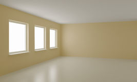 Empty room, clean office or residential interior. With clipping path for windows Stock Photos