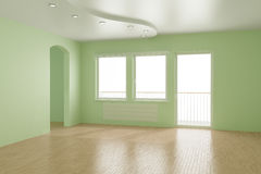 Empty room, clipping path for windows included. You can insert any view, 3d illustration Stock Photo