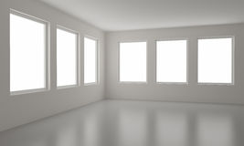 Empty room, clipping path for windows included Stock Image