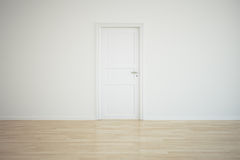 Empty room with a closed door. 3d rendering of a room with a closed door Royalty Free Stock Photos