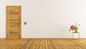 Empty room with closed door Royalty Free Stock Photography