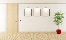 Empty room with closed door. Empty  white room with  wooden closed door - 3d Rendering Stock Images