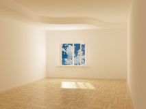 Empty room. Cloudscape behind the open window. Stock Image