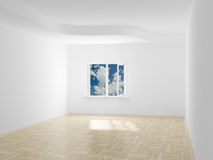 Empty room. Cloudscape behind the open window. Stock Photos