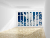 Empty room. Cloudscape behind the open window. stock illustration