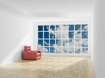 Empty room. Cloudscape behind the open window. Royalty Free Stock Photo