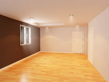 Empty room color wall with wooden floor, Royalty Free Stock Photography