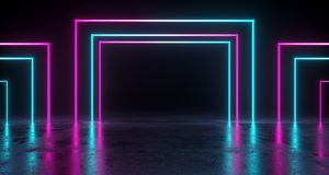 Empty Room With Colored Rectangle Neon Tubes With Reflection On. Concrete Floor. 3D Rendering Illustration Royalty Free Stock Photography