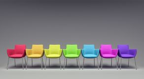 Empty Room With Colorful Chairs 3d render Stock Photography