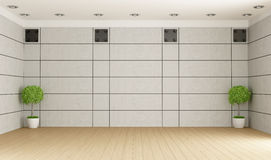 Empty room with concrete panel Royalty Free Stock Photo