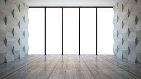Empty room with wall panels Stock Photos