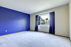 Empty room with a conctrast royal wall Royalty Free Stock Image