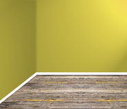 Empty room corner with wooden floor and yellow wall Stock Photography