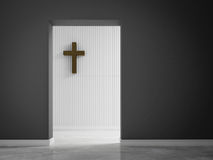 Empty room with cross on wall 3d rendering Stock Photo