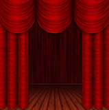 Empty room with curtains. Empty room saturated purple colors with theater curtains. Theatre Stage Stock Photography