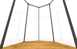 Empty room with curved glass wall Stock Photography