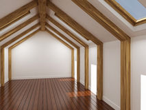 Empty room, 3d rendering. Render of empty room with constructions, windows and parquet Royalty Free Stock Images