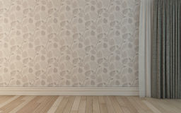 Empty Room With Dacorative Wallpapers 5 Stock Photo