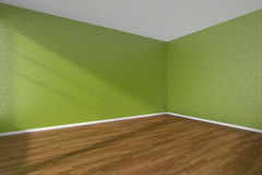 Empty room with dark parquet floor and textured green walls Royalty Free Stock Photography