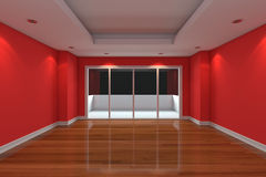 Empty Room decorate red wall Royalty Free Stock Photography