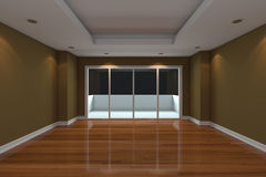 Empty Room decorated brown wall Royalty Free Stock Image