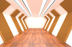Empty Room decorated with wood wall and wood floor Stock Photos