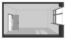 Empty room diagram. Diagram of a empty room with door and window and standing man in the opened door Stock Photography